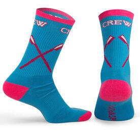 Crew Woven Mid-Calf Socks - Crossed Oars (Light Blue/Pink)