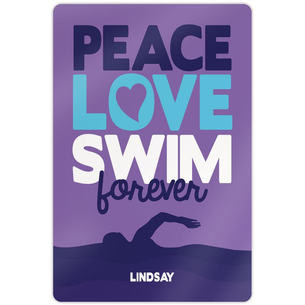 "Swimming 18"" X 12"" Aluminum Room Sign Peace Love Swim Forever"