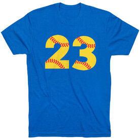 Softball T-Shirt Short Sleeve Number Stitches