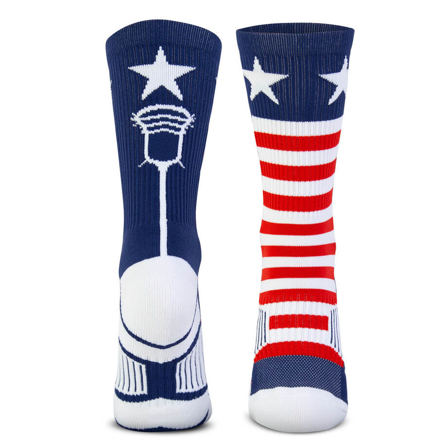 Guys Lacrosse Woven Mid-Calf Socks - Patriotic