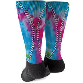 Softball Printed Mid-Calf Socks - Tie-Dye Stitches