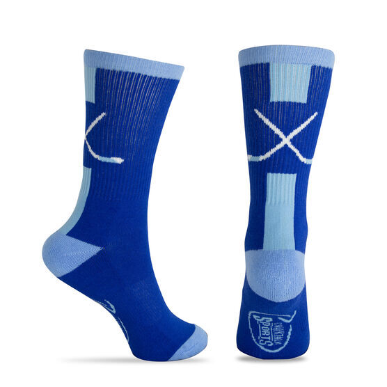 Hockey Woven Mid-Calf Socks - Sticks (Royal/White)