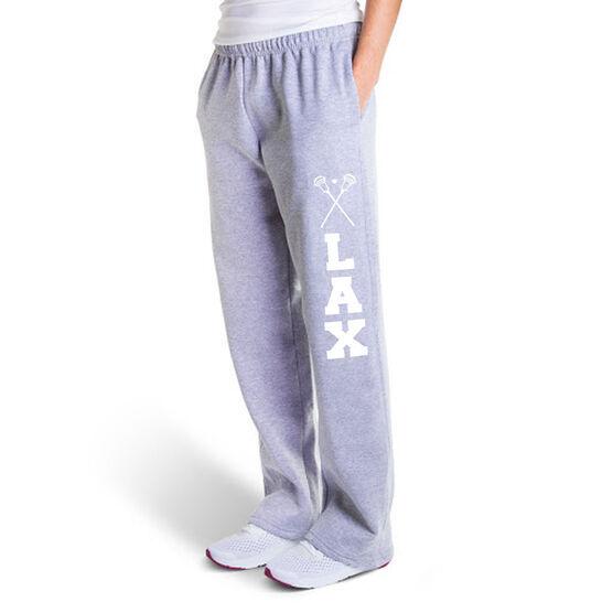 Guys Lacrosse Fleece Sweatpants - Lax With Crossed Sticks