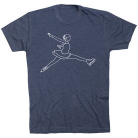 Figure Skating Short Sleeve T-Shirt - Figure Skating Player Sketch