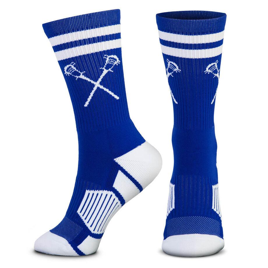 Guys Lacrosse Woven Mid-Calf Socks - Retro Crossed Sticks (Royal/White)