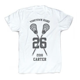 Guys Lacrosse Vintage T-Shirt - Personalized Crossed Stick Team Name