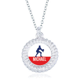 Volleyball Braided Circle Necklace - Male Player Silhouette With Name