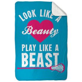 Girls Lacrosse Sherpa Fleece Blanket - Look Like A Beauty Play Like A Beast