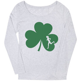 Women's Scoop Neck Long Sleeve Tee Shamrock With Cutout Female Runner