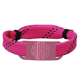 Personalized Sport Lace Bracelet Circle Player Monogram Adjustable Lace Bracelet