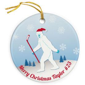 Hockey Porcelain Ornament Abominable Hockey Snowman