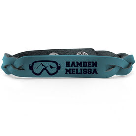 Skiing & Snowboarding Leather Engraved Bracelet - Goggles Personalized