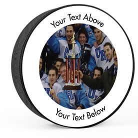 Personalized Your Team Photo with Text Hockey Puck
