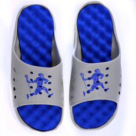 Post-Game Slides Lacrosse Sandals - Grey/Royal Blue