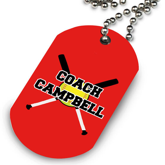 Softball Printed Dog Tag Necklace Personalized Coach with Crossed Bats