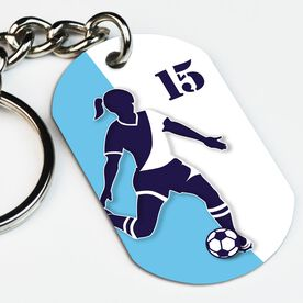 Soccer Printed Dog Tag Keychain Personalized Soccer Player Silhouette Girl