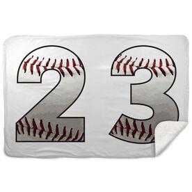 Baseball Sherpa Fleece Blanket Custom Baseball Numbers