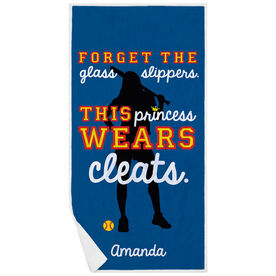 Softball Premium Beach Towel - Forget The Glass Slippers This Princess Wears Cleats