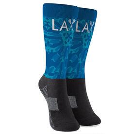 Girls Lacrosse Printed Mid-Calf Socks - Lax with Tie-Dye Floral Pattern