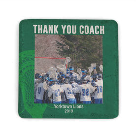 Guys Lacrosse Stone Coaster - Personalized Thank You Coach Guys Lacrosse Photo