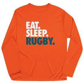 Rugby Long Sleeve Performance Tee - Eat. Sleep. Rugby.