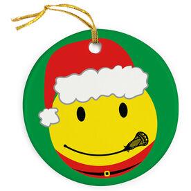 Guys Lacrosse Porcelain Ornament Smiley Face Santa