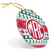 Softball Porcelain Ornament Monogram Ugly Sweater