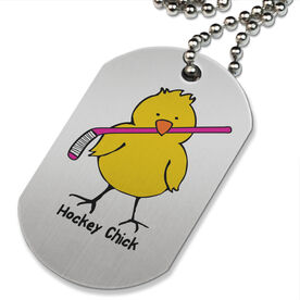 Hockey Chick Printed Dog Tag Necklace