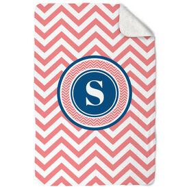 General Sports Sherpa Fleece Blanket - Single Letter Monogram with Chevron