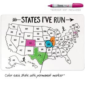 "Running 18"" X 12"" Wall Art - States I've Run Outline"