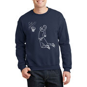 Basketball Crew Neck Sweatshirt - Basketball Player Sketch