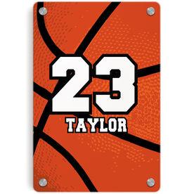 Basketball Metal Wall Art Panel - Personalized Big Number Basketball