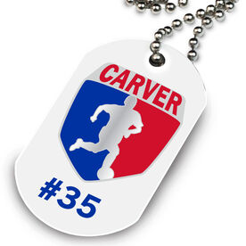Soccer Printed Dog Tag Necklace Custom Soccer Logo with Team Number