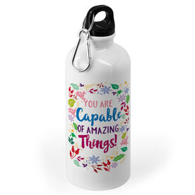 Personalized 20 oz. Stainless Steel Water Bottle - Custom Text With Floral Border