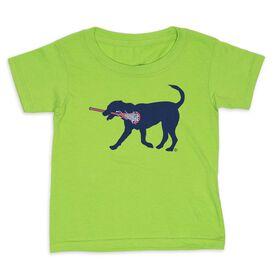 Girls Lacrosse Toddler Short Sleeve Tee - Lula the Lax Dog (Blue)