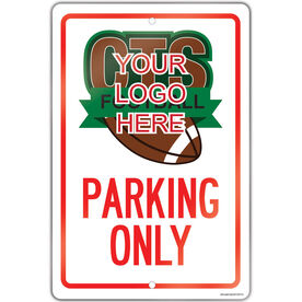 "Football 18"" X 12"" Aluminum Room Sign Custom Football Logo Parking Only"