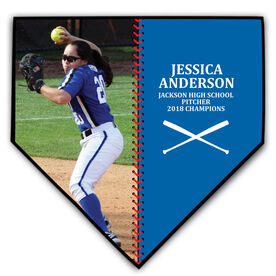 Softball Home Plate Plaque - Player Photo Stitch
