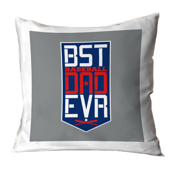 Baseball Throw Pillow - Best Dad Ever Shield