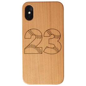 Softball Engraved Wood IPhone® Case - Number Stitches