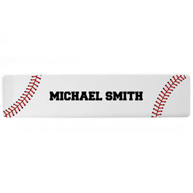 "Baseball Aluminum Room Sign - Your Name Baseball  (4""x18"")"
