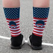 Swimming Printed Mid-Calf Socks - USA Swim
