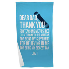Snowboarding Beach Towel Dear Dad