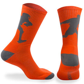 Guys Lacrosse Woven Mid Calf Socks - Player (Neon Orange/Gray)