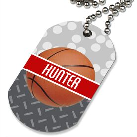 Basketball Printed Dog Tag Necklace Personalized 2 Tier Patterns with Basketball