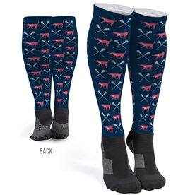 Girls Lacrosse Printed Knee-High Socks - LuLa the Lax Dog