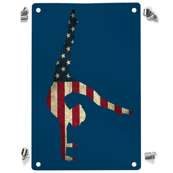 Gymnastics Metal Wall Art Panel - American Flag Silhouette