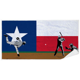 Baseball Premium Beach Towel - Go for the Home Run Texas