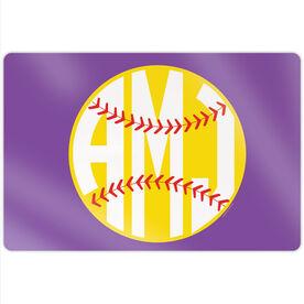 "Softball 18"" X 12"" Aluminum Room Sign - Monogrammed"