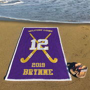Field Hockey Premium Beach Towel - Personalized Team with Crossed Sticks