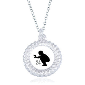 Baseball Braided Circle Necklace - Catcher Silhouette With Number